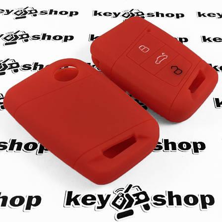 Чехол (красный, силиконовый) для смарт ключа Skoda (Шкода) 3 кнопки, фото 2