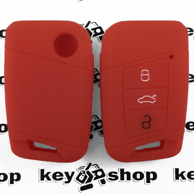 Чехол (красный, силиконовый) для смарт ключа Skoda (Шкода) 3 кнопки