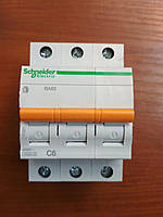 Автоматический выключатель ВА63 3 полюса 6А  Schneider Electric серия Домовой