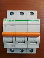 Автоматический выключатель ВА63 3 полюса 20А  Schneider Electric серия Домовой