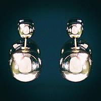 """[15/8 мм] Cерьги пуссеты шары """" матрешка"""" Dior металлик золото"""