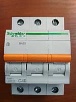 Автоматический выключатель ВА63 3 полюса 40А  Schneider Electric серия Домовой
