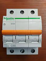 Автоматический выключатель ВА63 3 полюса 50А  Schneider Electric серия Домовой