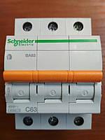Автоматический выключатель ВА63 3 полюса 63А  Schneider Electric серия Домовой