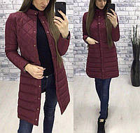 Новинки весна 2018 удлиненная женская стеганная куртка бордо 42 44 46