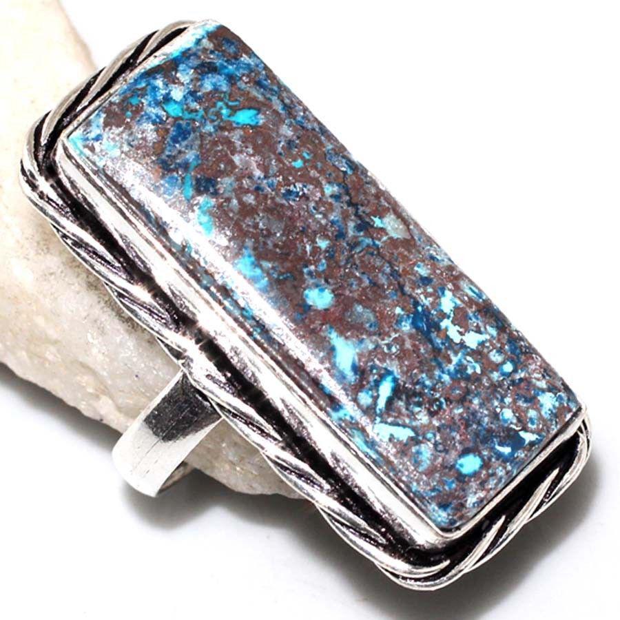 Красивое кольцо хризоколла в серебре. Размер 18,5-19. Природная хризоколла. Индия!