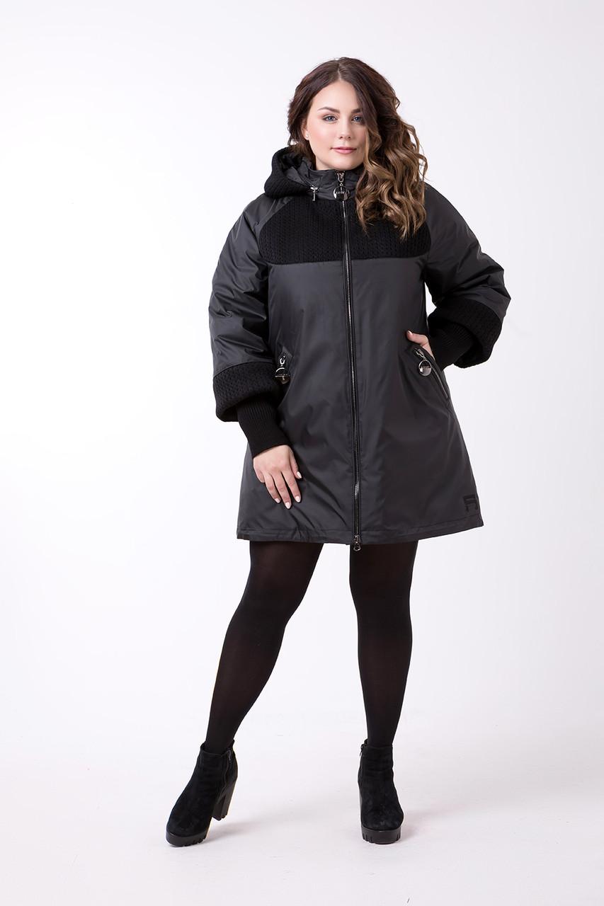 Пальто комбинированное р. 52-72 черный