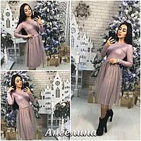 Женское платье миди из ткани 3D трикотаж с принтом лилового цвета