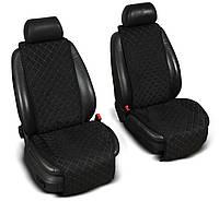 """Накидки на сиденье """"Эко-замша"""" широкие (1+1) без лого, цвет черный"""