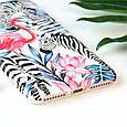 Чехол накладка на iPhone 6/6s фламинго с зебрами, плотный силикон, фото 2