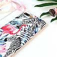 Чехол накладка на iPhone 6/6s фламинго с зебрами, плотный силикон, фото 3