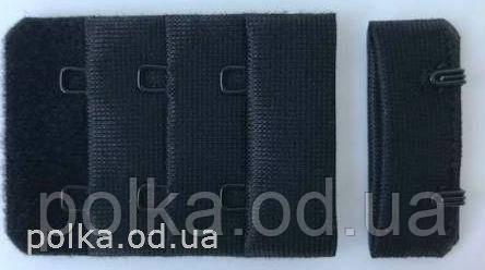 Застежка для бюстгальтера, цвет черный, ширина 34мм (Турция)