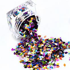 Декор для ногтей Ромбики разноцветные в банке
