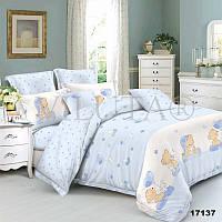 Постельное белье в детскую кроватку 17137 голубой  ранфорс ТМ Вилюта мишки