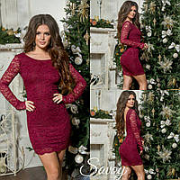 Гипюровое платье с открытой спиной бордо, пудра, красное, электрик