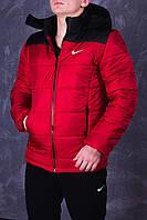 Мужская зимняя куртка Nike Classic черно-красная до -25*С (Найк) Парка Пуховик с капюшоном теплая ТОП