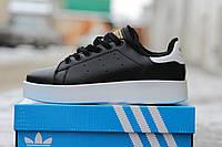 Женские кроссовки Adidas stan smith bold черно-белые 2398
