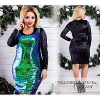 b649845bf1a Нарядное батальное платье пайетка+бархат (разные цвета)