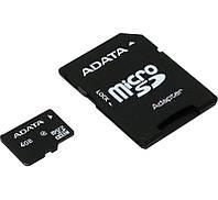 Карта памяти microSDHC, 4Gb, Class4, A-Data, SD адаптер (AUSDH4GCL4-RA1)