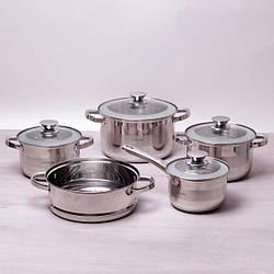 Набор посуды Kamille: ковш (2.1л), кастрюли (2.9л, 3.9л, 6.5л), пароварка (24см)