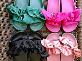 Розпродаж! Тапки тапочки шльопанці жіночі банти з бантиками чорні Puma Fenty копія, фото 3