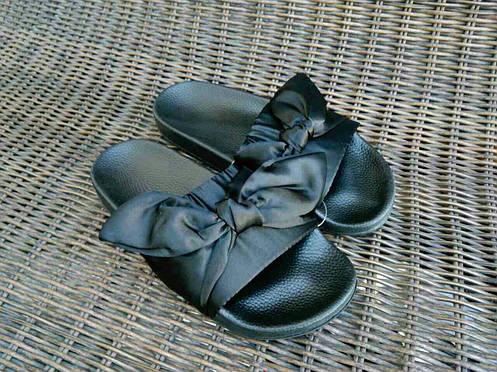 Розпродаж! Тапки тапочки шльопанці жіночі банти з бантиками чорні Puma Fenty копія, фото 2
