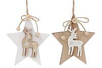 ХПодвеска 785- Звезда с оленем 12см дерев. 785-185