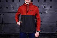 Анорак, ветровка, куртка черно-красный