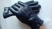 Мужские перчатки из натуральной кожи на подкладке из натурального меха модель 272.