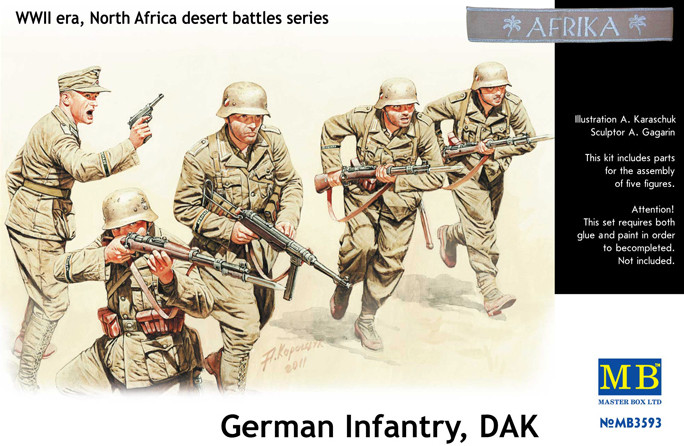 German Infantry DAK,WWII, North Africa desert Battles Serie. 1/35 MB3593