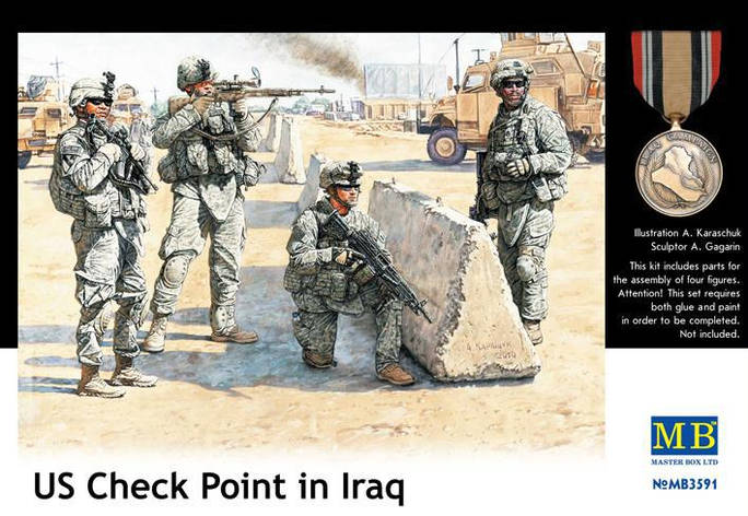 Американские солдаты контрольно-пропускного пункта в Ираке. 1/35 MASTER BOX 3591, фото 2