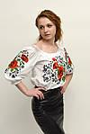Женская блуза с вышитыми маками и мережкой по спинке, фото 4