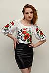 Женская блуза с вышитыми маками и мережкой по спинке, фото 3