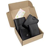 Подарочный набор №7: обложка на паспорт, права + картхолдер + портмоне П1 (черный)