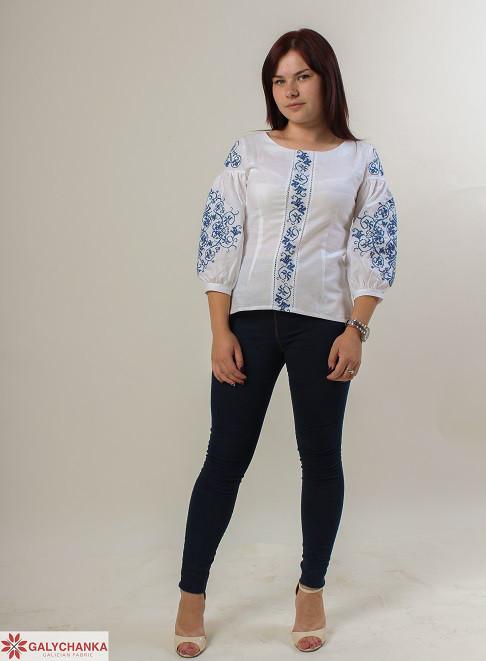Нарядная блуза вышиванка и изящным растительным орнаментом