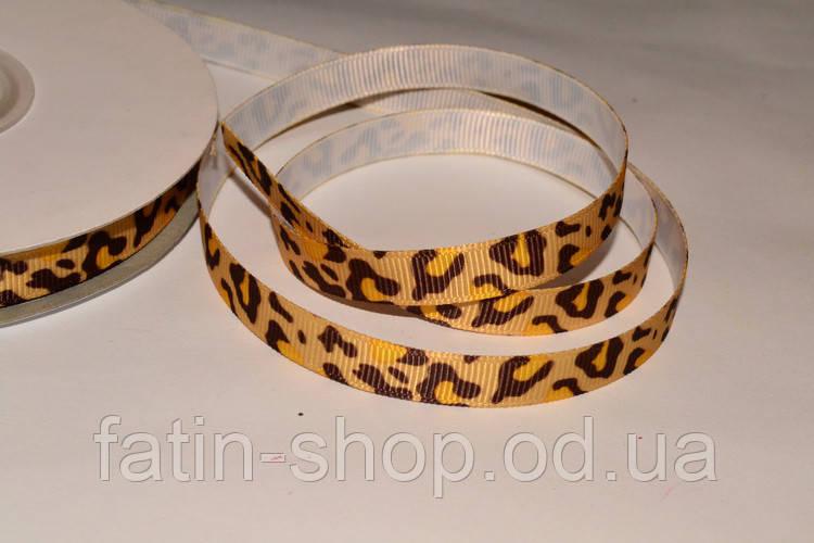 Репсовая лента  Леопард цв.Buttercup