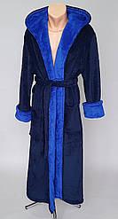 Халат длинный мужской махровый синего цвета