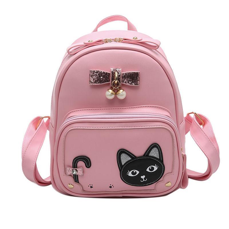 e851f85484ee Рюкзак женский городской для девочек, девушек Кот с бантом (розовый) -  Интернет-