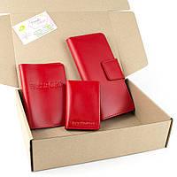 Подарочный набор №12: обложка на паспорт + обложка на документы + кошелек (красный), фото 1