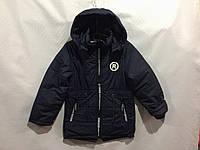 Детская демисезонная куртка парка для мальчика темно синего цвета от 3 до 7 лет, фото 1