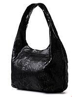 Сумка женская черная мешок из лазера под змею В 3632. Брендовые сумки, брендовые клатчи недорого в Одессе
