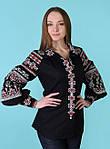 Традиционная женская льняная вышитая блуза с оригинальными рукавами фонариками в черно-красном цвете, фото 3