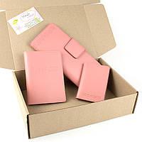 Подарочный набор №12: обложка на паспорт + обложка на документы + кошелек (нежно-розовый)