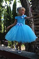 Детское пышное платье голубое с цветами из ткани. Размеры от года