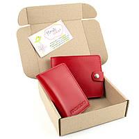 Подарочный набор №16: портмоне П1 + мини обложка на документы (красный)