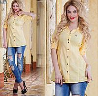 Женская рубашка - туника  белого, желтого цвета. Натуральная ткань хб.  DG ат3201