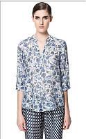 Оригинал. Распродажа. Белая рубашка ZARA с голубым узором AB90118