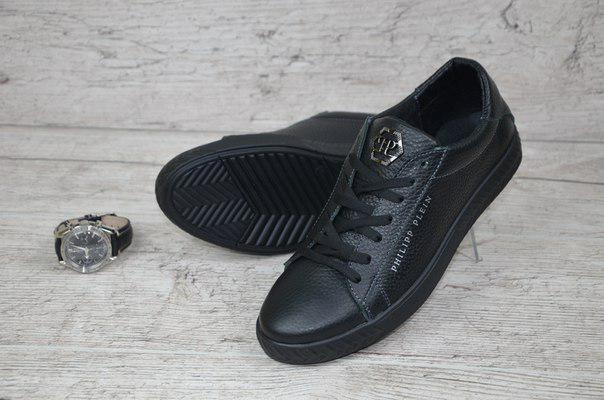 Мужские черные кожаные кеды Philip Plein черные - bonny-style в Хмельницком