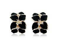 """Серьги """"Черные орхидеи в золоте"""", фото 1"""