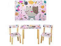 """Столик деревянный, стульчики, комплект детской мебели """"Кошка"""", ТМ Vivast, 501-5"""